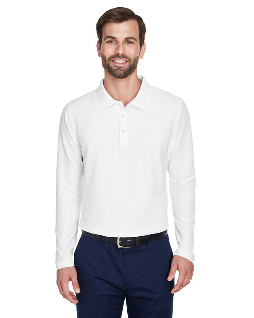 Devon & Jones Men's DRYTEC20� Performance Long-Sleeve Polo - White