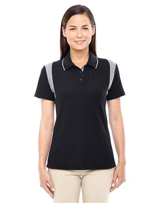 Devon & Jones Ladies' DRYTEC20� Performance Colorblock Polo - Black/ Grey Hthr