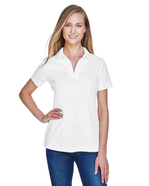 Devon & Jones Ladies' CrownLux Performance� Plaited Polo - White
