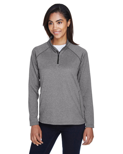 Devon & Jones Ladies' Stretch Tech-Shell� Compass Quarter-Zip - Dk Grey Heather