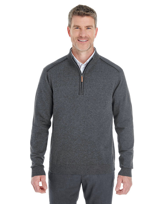 Devon & Jones Men's Manchester Fully-Fashioned Quarter-Zip Sweater - Dk Grey Hth/ Blk