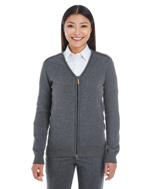 Devon & Jones Ladies' Manchester Fully-Fashioned Full-Zip Sweater - Dk Grey Hth/ Blk