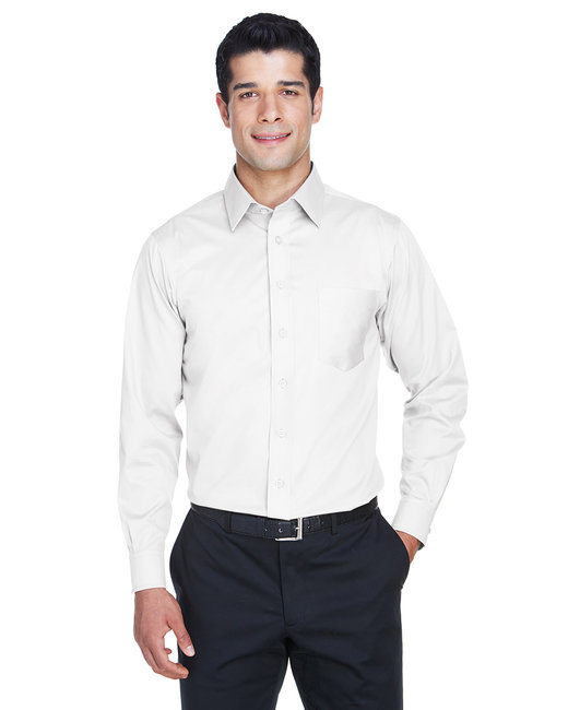 Devon & Jones Men's Crown Woven�Collection� Solid Stretch Twill - White