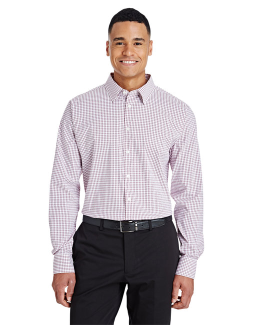 Devon & Jones Men's CrownLux Performance� Micro Windowpane Shirt - Burgundy/ White