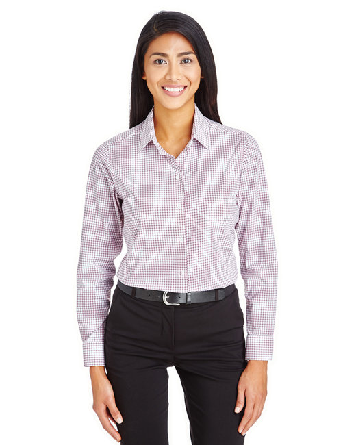 Devon & Jones Ladies' CrownLux Performance� Micro Windowpane Shirt - Burgundy/ White