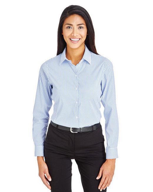 Devon & Jones CrownLux Performance™ Ladies' Micro Windowpane Shirt - French Blue/ Wht