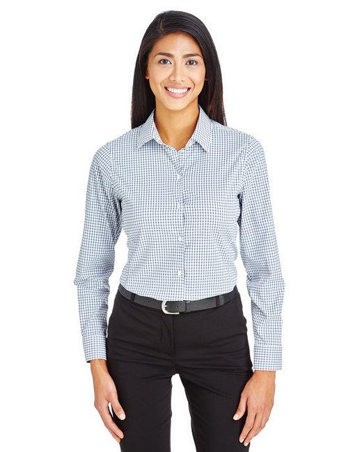 Devon & Jones CrownLux Performance™ Ladies' Micro Windowpane Shirt - Navy/ White