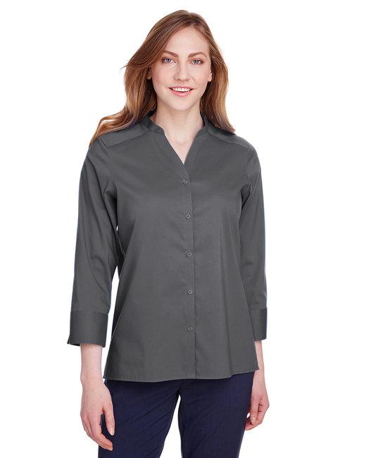 Devon & Jones Ladies' Crown  Collection™ Stretch Broadcloth 3/4 Sleeve Blouse - Graphite