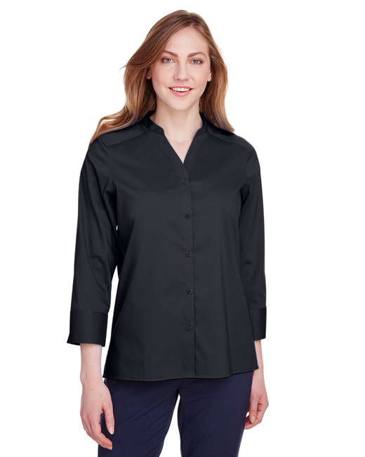 Devon & Jones Ladies' Crown  Collection™ Stretch Broadcloth 3/4 Sleeve Blouse - Black