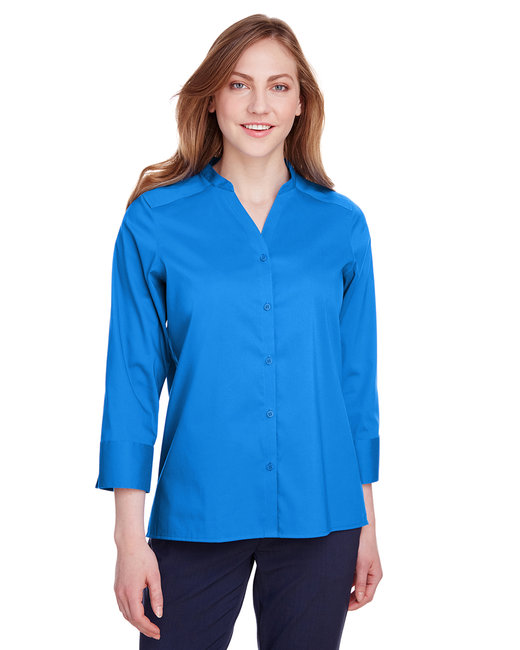 Devon & Jones Ladies' Crown  Collection™ Stretch Broadcloth 3/4 Sleeve Blouse - French Blue