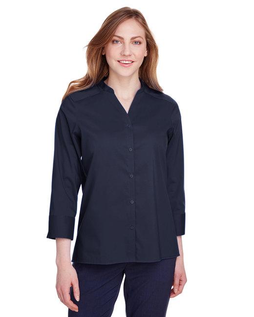 Devon & Jones Ladies' Crown  Collection™ Stretch Broadcloth 3/4 Sleeve Blouse - Navy