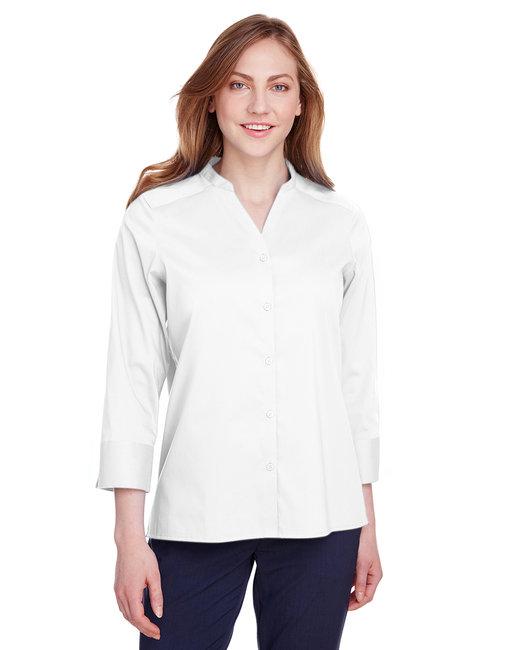 Devon & Jones Ladies' Crown  Collection™ Stretch Broadcloth 3/4 Sleeve Blouse - White