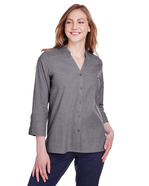 Devon & Jones Ladies' Crown Collection™ Stretch Pinpoint Chambray 3/4 Sleeve Blouse - Graphite