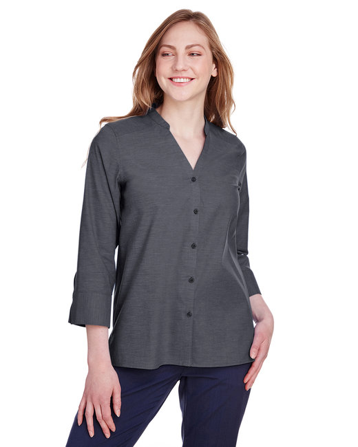 Devon & Jones Ladies' Crown Collection™ Stretch Pinpoint Chambray 3/4 Sleeve Blouse - Black