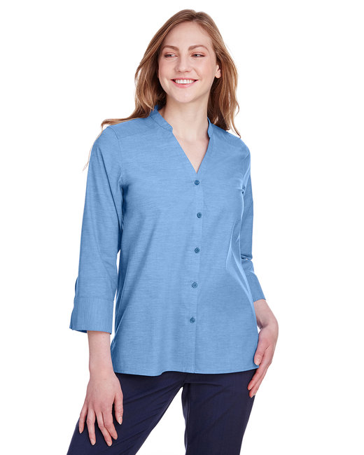 Devon & Jones Ladies' Crown Collection™ Stretch Pinpoint Chambray 3/4 Sleeve Blouse - French Blue