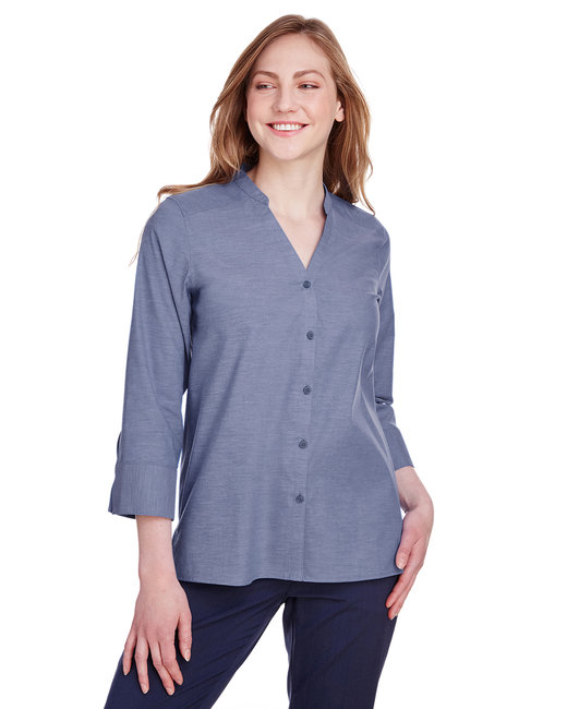 Devon & Jones Ladies' Crown Collection™ Stretch Pinpoint Chambray 3/4 Sleeve Blouse - Navy
