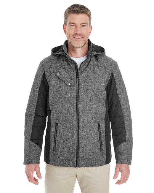 Devon & Jones Men's Midtown Insulated Fabric-Block Jacket with Crosshatch M�lange - Dk Grey Hth/ Blk