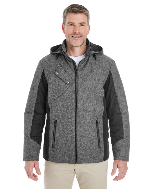 Devon & Jones Men's Midtown Insulated Fabric-Block Jacket with Crosshatch M�lange - Dk Grey Hth/ Blk