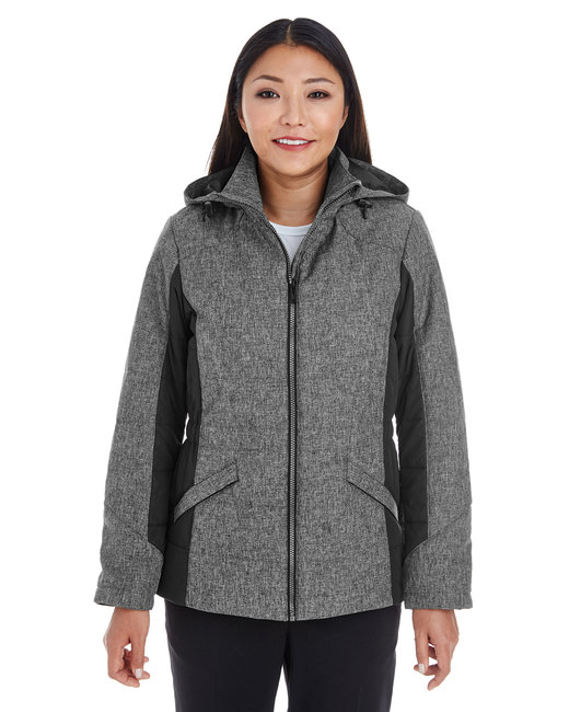 Devon & Jones Ladies' Midtown Insulated Fabric-Block Jacket with Crosshatch M�lange - Dk Grey Hth/ Blk