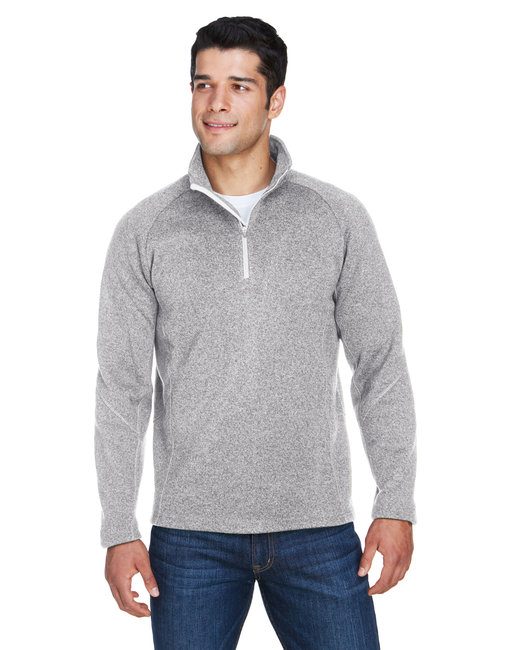 Devon & Jones Adult Bristol Sweater Fleece Quarter-Zip - Grey Heather