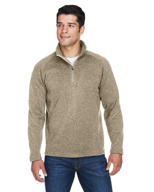 Devon & Jones Adult Bristol Sweater Fleece Quarter-Zip - Khaki Heather
