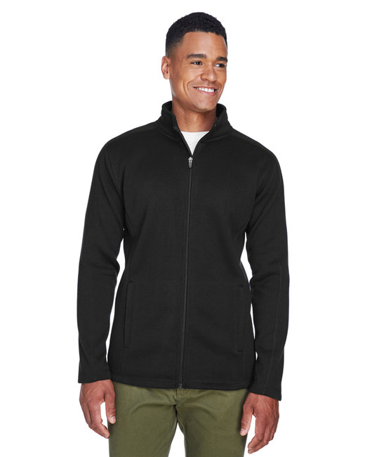 Devon & Jones Men's Bristol Full-Zip Sweater Fleece Jacket - Black