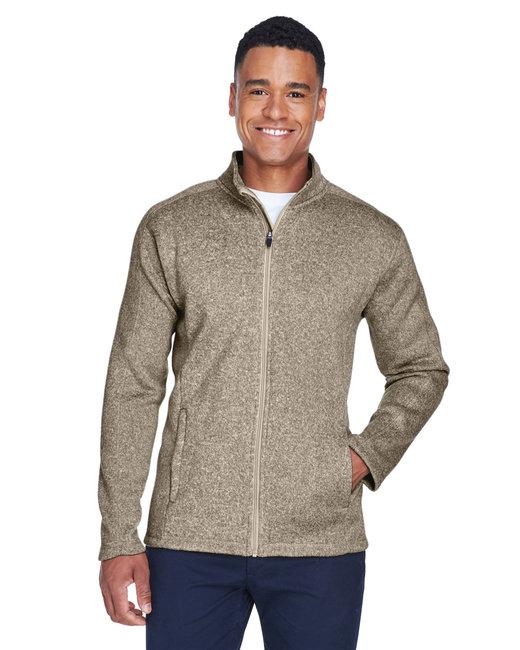 Devon & Jones Men's Bristol Full-Zip Sweater Fleece Jacket - Khaki Heather