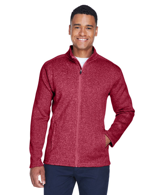Devon & Jones Men's Bristol Full-Zip Sweater Fleece Jacket - Red Heather