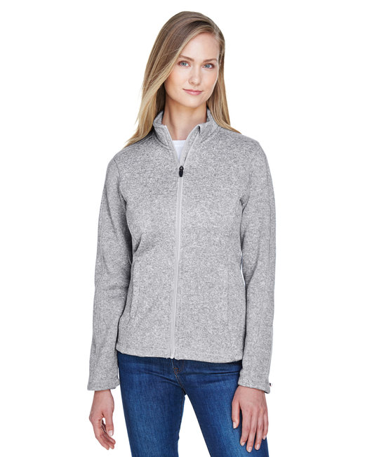 Devon & Jones Ladies' Bristol Full-Zip Sweater Fleece Jacket - Grey Heather