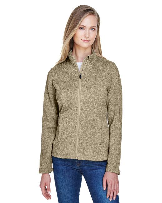 Devon & Jones Ladies' Bristol Full-Zip Sweater Fleece Jacket - Khaki Heather