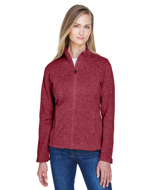 Devon & Jones Ladies' Bristol Full-Zip Sweater Fleece Jacket - Red Heather
