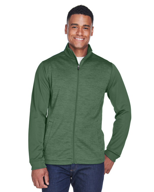 Devon & Jones Men's Newbury Colorblock M�lange Fleece Full-Zip - Forest/ Forst Ht
