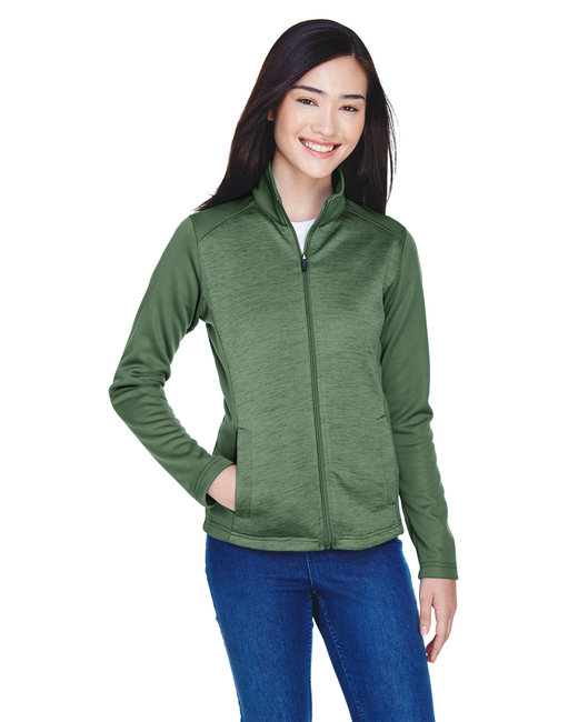 Devon & Jones Ladies' Newbury Colorblock M�lange Fleece Full-Zip - Forest/ Forst Ht