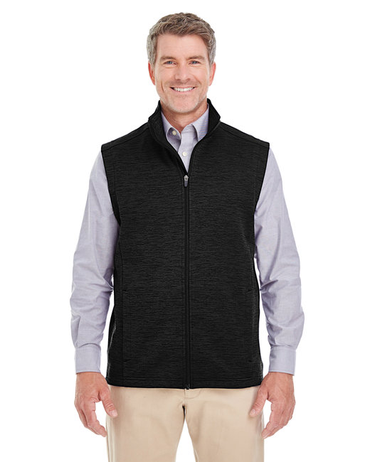 Devon & Jones Men's Newbury M�lange�Fleece Vest - Black Heather