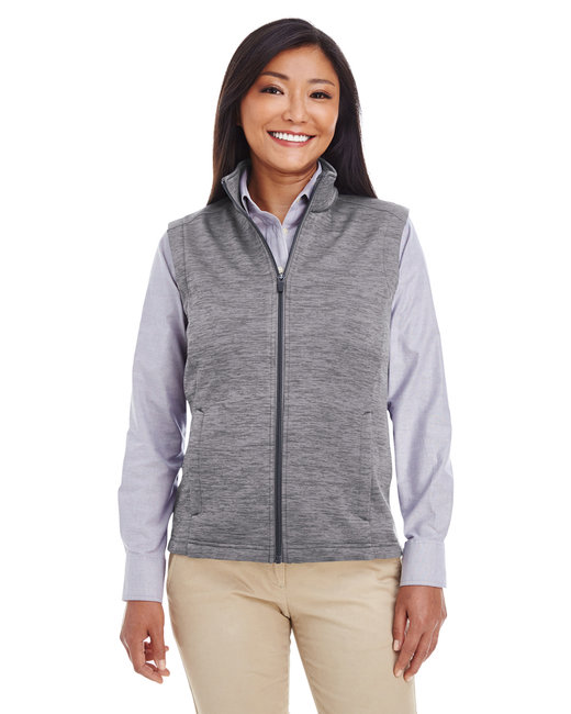 Devon & Jones Ladies' Newbury M�lange�Fleece Vest - Dark Grey Heathr