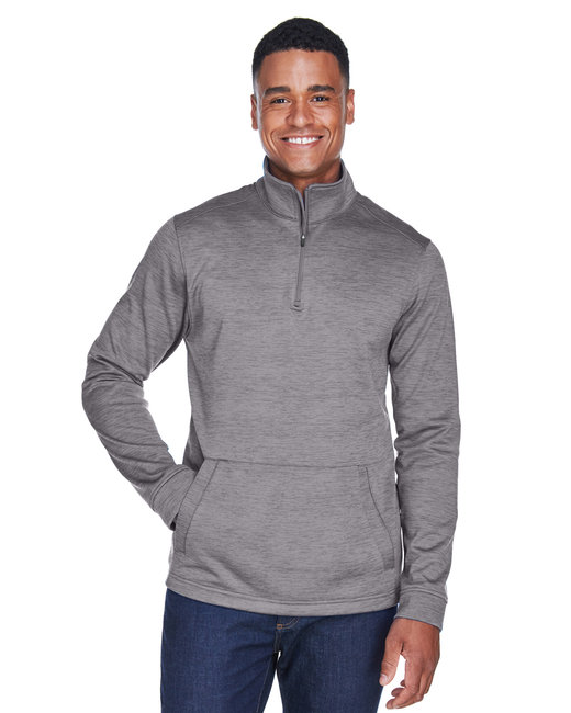Devon & Jones Men's Newbury M�lange Fleece Quarter-Zip - Dark Grey Heathr
