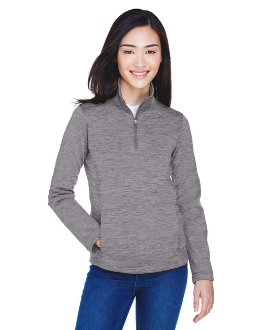 Devon & Jones Ladies' Newbury M�lange Fleece Quarter-Zip - Dark Grey Heathr