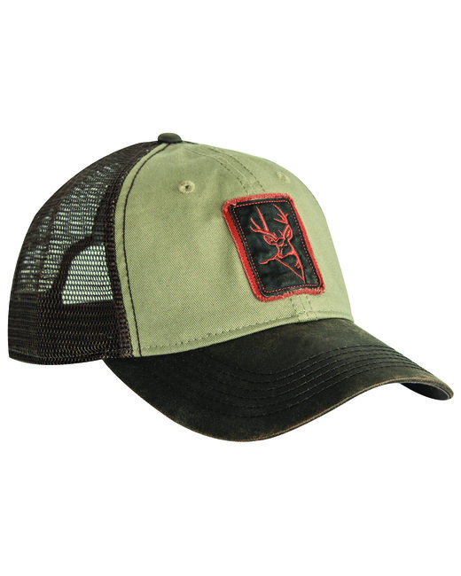 Dri Duck Waxy Cotton Trucker Buck Icon Cap - Khaki