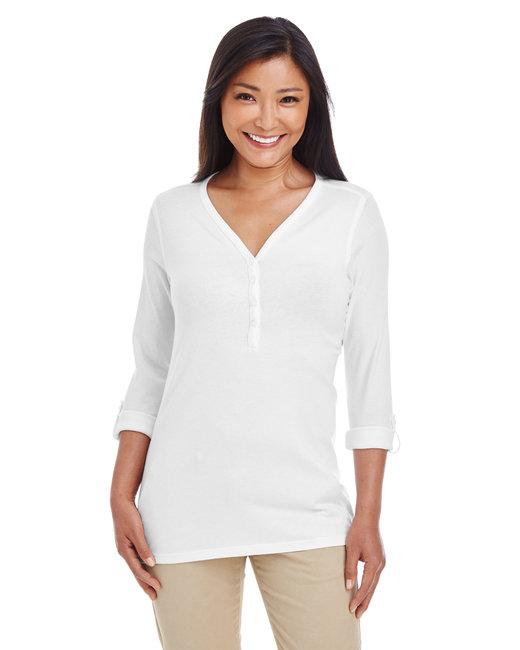 Devon & Jones Ladies' Perfect Fit� Y-Placket Convertible Sleeve Knit Top - White