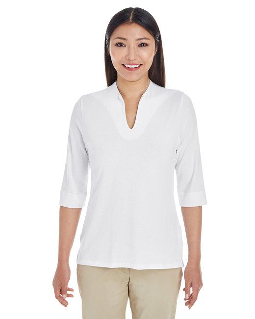 Devon & Jones Ladies' Perfect Fit� Tailored Open Neckline Top - White