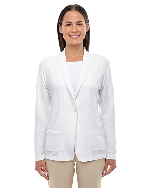 Devon & Jones Ladies' Perfect Fit� Shawl Collar Cardigan - White