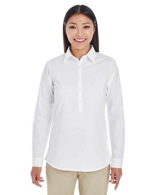Devon & Jones Ladies' Perfect Fit� Half-Placket Tunic Top - White