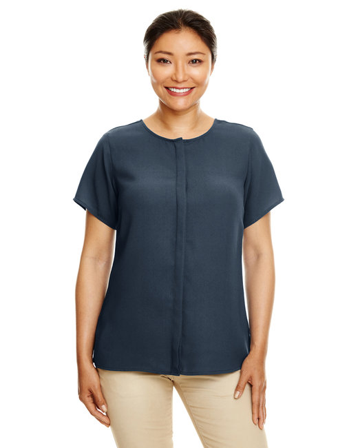 Devon & Jones Ladies' Perfect Fit�  Short-Sleeve Crepe Blouse - Navy