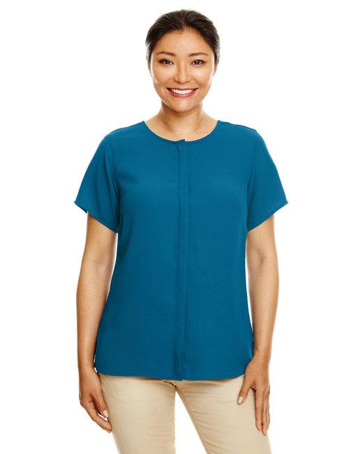 Devon & Jones Ladies' Perfect Fit™  Short-Sleeve Crepe Blouse - Dark Teal