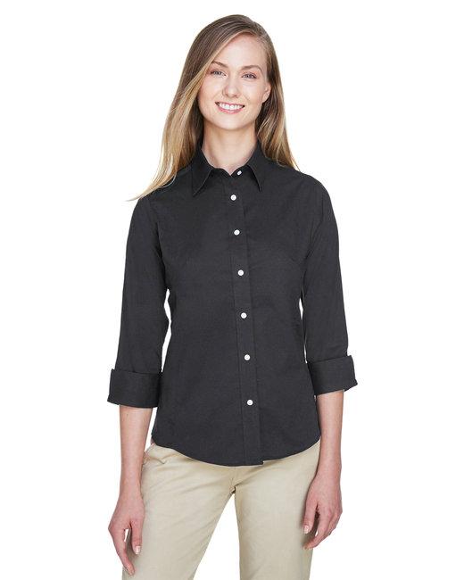 Devon & Jones Ladies' Perfect Fit™ 3/4-Sleeve Stretch Poplin Blouse - Black