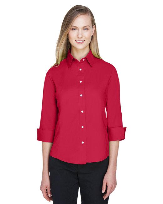 Devon & Jones Ladies' Perfect Fit� 3/4-Sleeve Stretch Poplin Blouse - Red