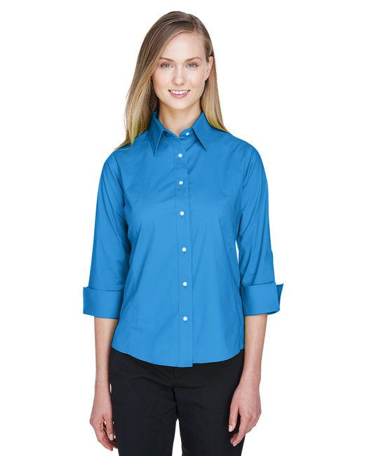 Devon & Jones Ladies' Perfect Fit� 3/4-Sleeve Stretch Poplin Blouse - French Blue