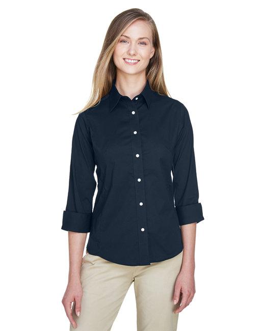 Devon & Jones Ladies' Perfect Fit� 3/4-Sleeve Stretch Poplin Blouse - Navy