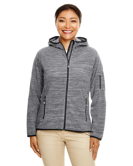 Devon & Jones Ladies' Perfect Fit�  M�lange Velvet Fleece Hooded Full-Zip - Drk Grey Heather