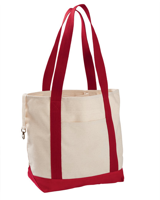 econscious 12 oz. Organic Cotton Canvas Boat Tote Bag - Natural/ Red